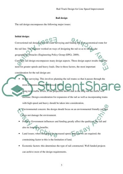 Track design for linespeed improvements Essay essay example