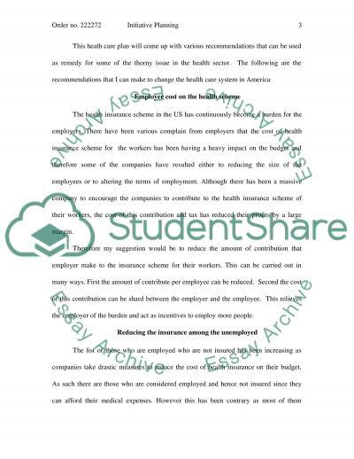 Initiative Planning essay example