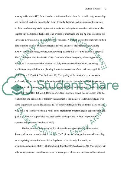 Mentorship For Nursing essay example