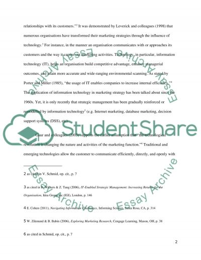 The Influence of Technology on Contemporary Strategic Marketing Management Practices essay example