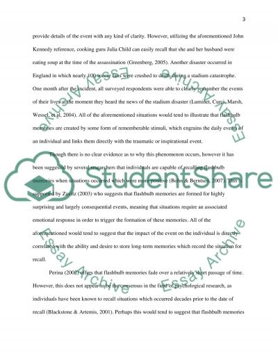 Flashbulb Memory Essay Example Topics And Well Written Essays