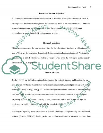 A Case study of Educational standards in academic institutions essay example