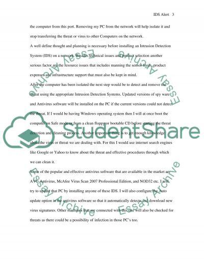 IDS Alert essay example