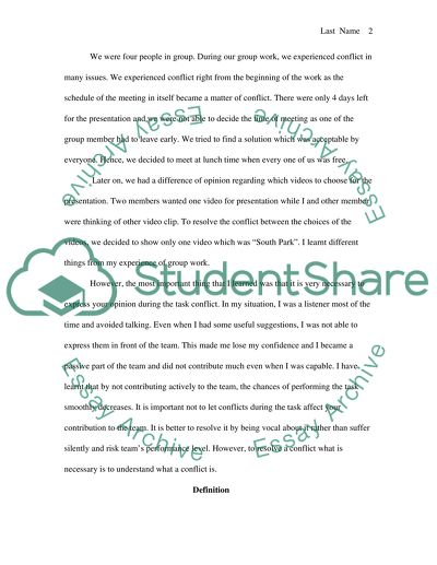 Team work and Conflict resolution; CRITICAL reflection ESSAY