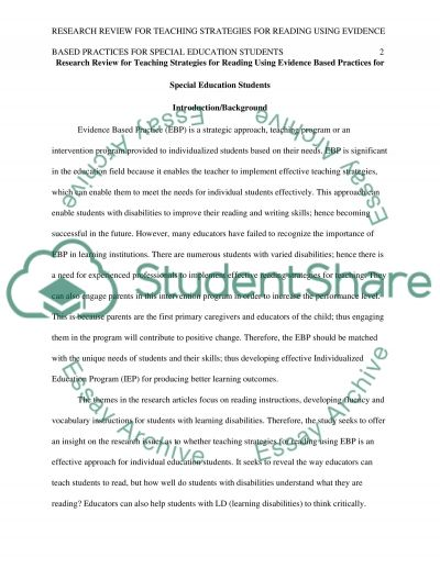 Research Review for teaching strategies for reading using evidence based practices for special education students essay example