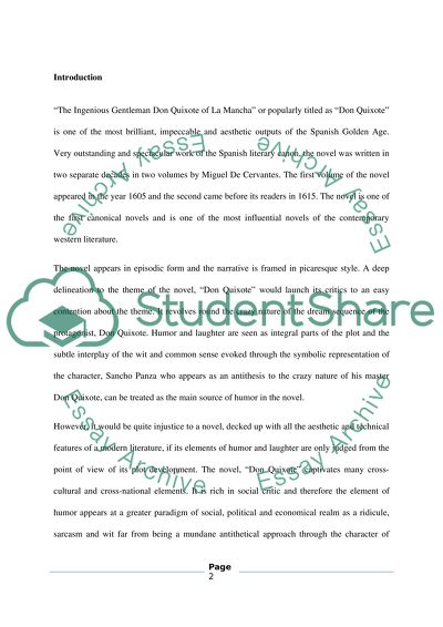 High School Narrative Essay The Nature Of Humor And Laughter In Don Quixote Thesis For A Persuasive Essay also High School Experience Essay The Nature Of Humor And Laughter In Don Quixote Essay High School Admission Essay Examples