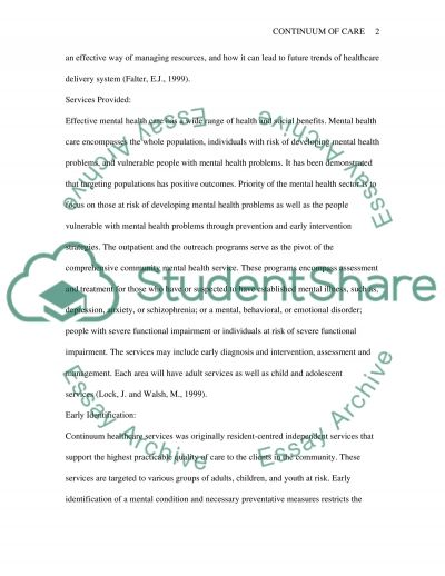 Continuum of Care in Mental Health Care Essay example