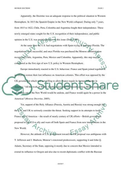 Monroe Doctrine essay example