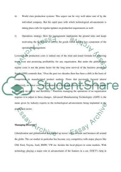 Operations management essay example