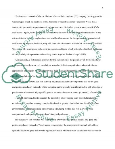 Research proposal in Systems Biology Essay example
