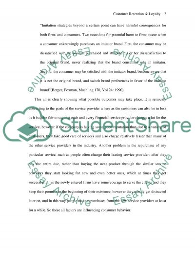 Customer Retention and Loyalty essay example