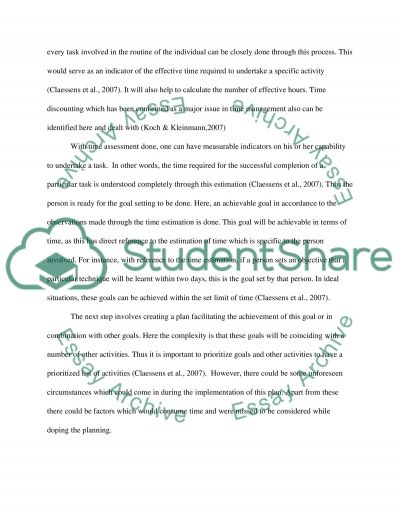 Time Management Research Paper essay example