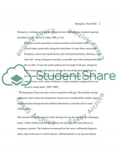 Emergency Nursing essay example