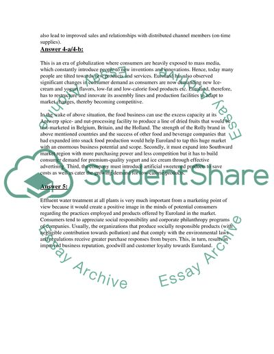 Essay style answers regarding Euroland Case Study in terms of marketing