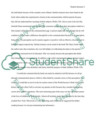 Thesis Statement Examples For Essays Paper On The Glass Castle For Communications Class Thesis Example For Compare And Contrast Essay also Example Of A Thesis Essay Paper On The Glass Castle For Communications Class Essay High School Essay Example