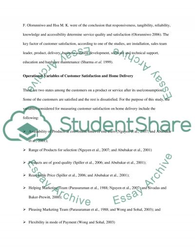 Home Delivery Service essay example