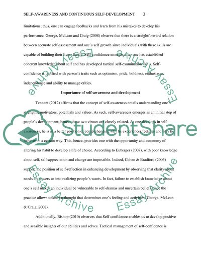 Selfawareness And Continuous Selfdevelopment Essay Selfawareness And Continuous Selfdevelopment