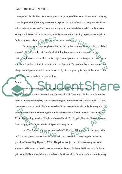 "Sales Proposal "" NESTLE"" Essay example"