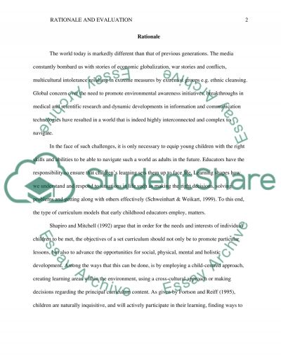 Early Childhood: Rationale and Evaluation essay example