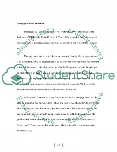Mortgaged Backed Securities essay example