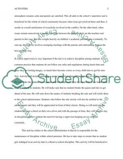 School Activities essay example