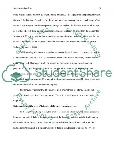 Implementation and Evaluation Plan essay example