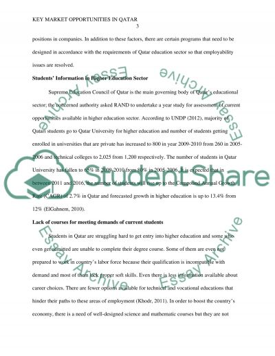 REPORT ON HIGHER EDUCATION IN QATAR (Part in green3) essay example