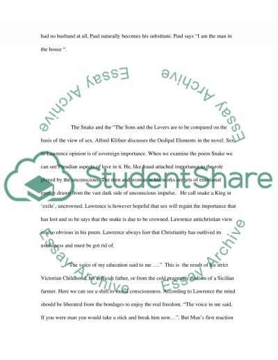 sons and lovers thesis Sons and lovers study guide contains a biography of dh lawrence, literature essays, a complete e-text, quiz questions, major themes, characters, and a full summary and analysis.