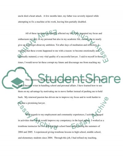 Law School Personal Statement essay example