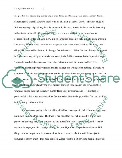Many forms of Grief or your suggestion essay example