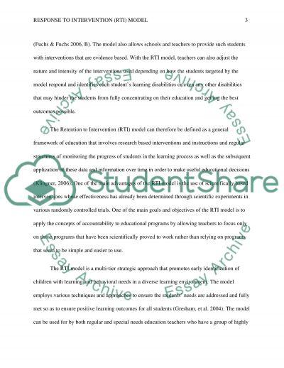 Response to Intervention (RTI) model essay example