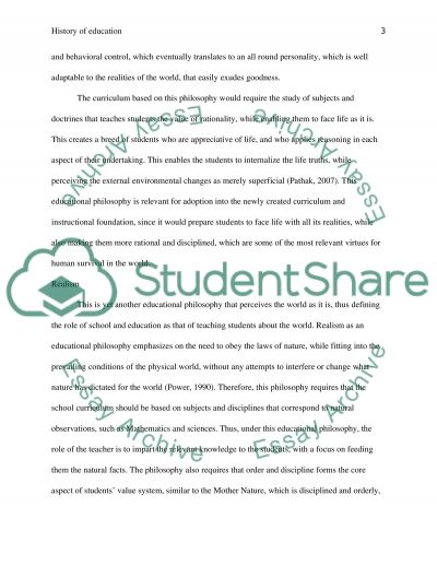 History of education essay example