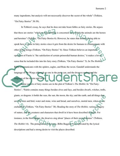 Essay Writing Topics For High School Students Tolkiens On Fairy Stories And The Hobbit Science Fiction Essay Topics also English Essay Topics For Students Tolkiens On Fairy Stories And The Hobbit Essay How To Write A Thesis Statement For A Essay