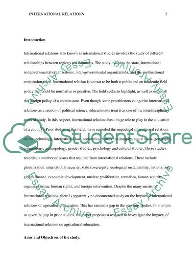 Impact of International Relations on Agricultural Education essay example