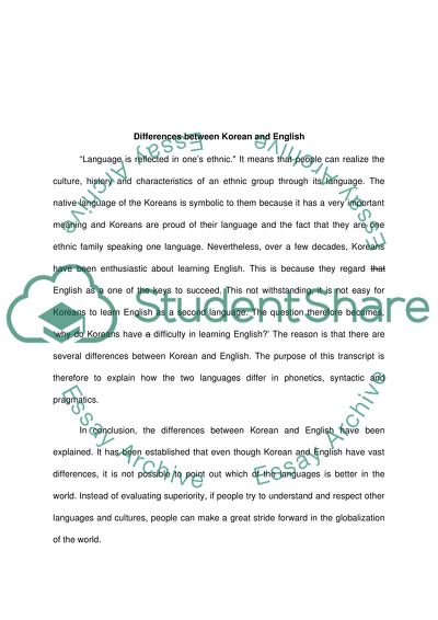 Linguistics Essay Example | Topics and Well Written Essays