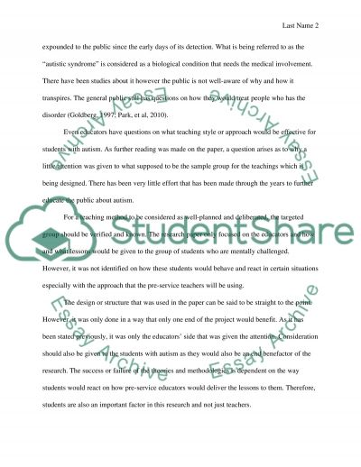 Pre-service teachers dealing with autism essay example