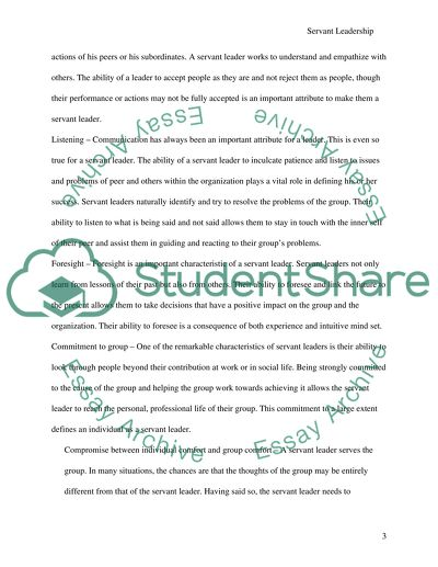 Servant Leader Formation Paper