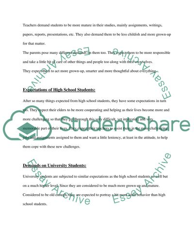 Students Demands on and Expectations