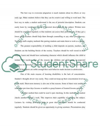Plagiarism in Education essay example