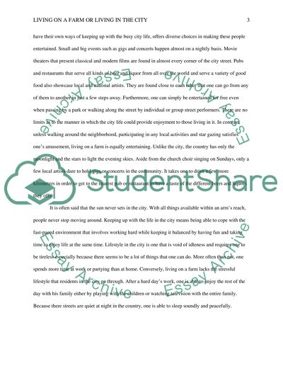 Essay On Health Awareness Living On A Farm To Living In The City English As A Second Language Essay also English Essay Friendship Living On A Farm To Living In The City Essay Example  Topics And  Computer Science Essays