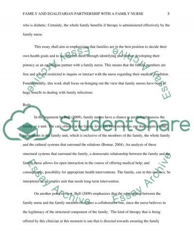 Family and egalitrarian partnership with a family nurse essay example
