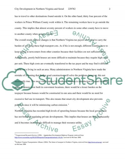 City Development in Northen Virginia and Seoul essay example