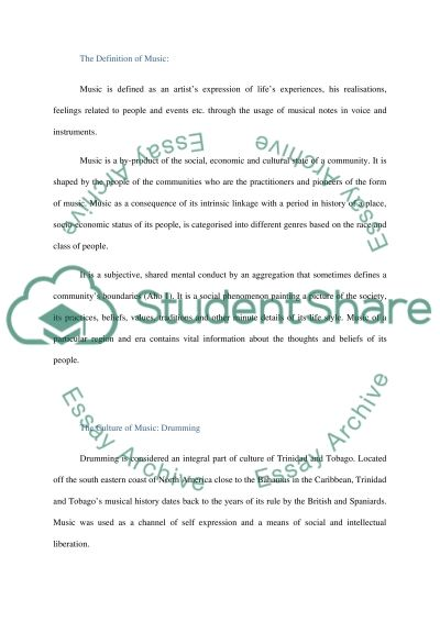 Steelband Music in Trinidad and Tobago essay example