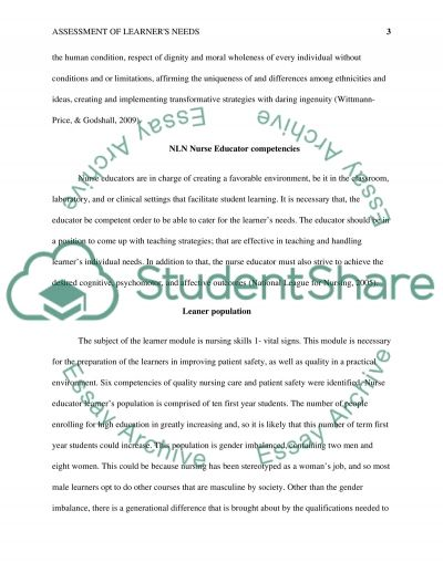 Assessment of learners needs essay example