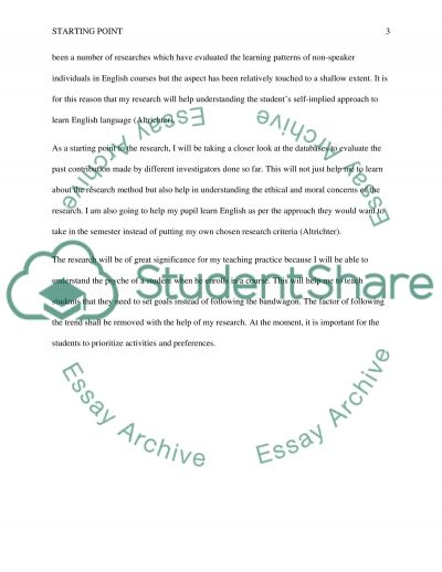 Action Research- The starting point speech essay example