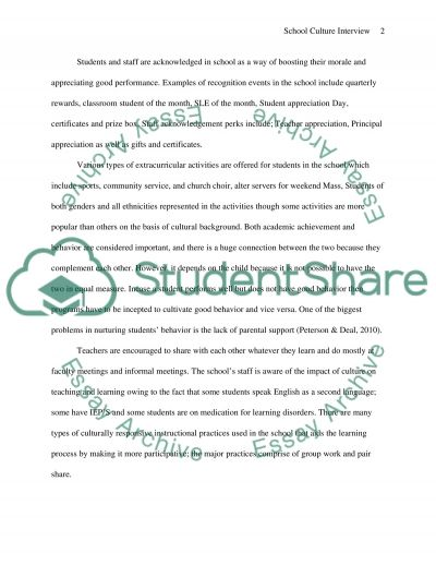 School Culture Interview essay example