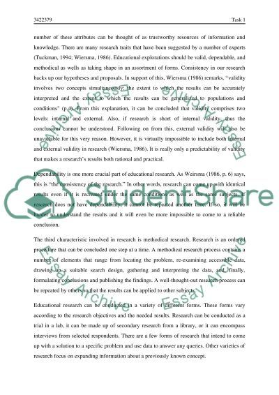 Reseach in Education essay example