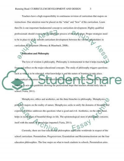 Curriculum Foundations and Theory, Design, Development, and Implementation essay example