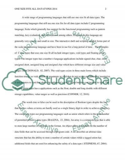 One size fits all datatypes essay example
