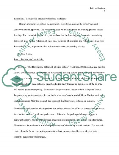 Article Review - Educational Instructional Practices, Programs, and Strategies essay example